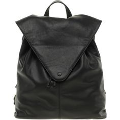 Asos Leather Backpack With Pointed Flap ❤ liked on Polyvore