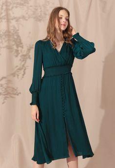 Satin Button Down Wrap Midi Dress in Dark Green - Retro, Indie and Unique Fashion Day Dresses, Casual Dresses, Prom Dresses, Formal Dresses, Midi Dresses, Ruffle Dress, Chiffon Dress, Knit Dress, Print Chiffon