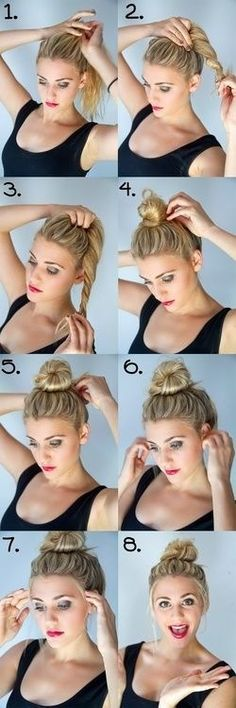 This along with another twist technique are the Best messy bun how to's I've found. The easiest and quickest! Love it