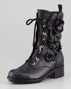 Rosette Combat Boot by Valentino at Neiman Marcus. | inspiration to make my combate boots prettier!