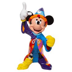 """Disney by Britto - Enesco Sorcerer MickeyEnesco # in H x in W x 9 in LMaterials: Resin, Calcium Carbonate Item Details: Marking the Anniversary of """"Fantasia"""", this Big Fig Britto Disney, Big Fig, Baby Dumbo, Trick Or Treat Studios, Hands In The Air, Pop Art Design, Disney Figurines, Disney Traditions, Disney Films"""