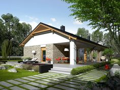 Daniel is a house designed for a family who appreciates the noble elegance, modern comfort and convenient connections and. Modern Architecture House, Modern House Design, Architecture Design, Single Storey House Plans, Modern House Floor Plans, Farm Plans, Beautiful House Plans, Weekend House, Modern Bungalow