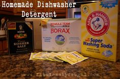 How to make Homemade Dishwasher Detergent and save money.  $.06 per load!