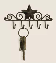 Iron Metal Decorative Barn Star Wall Mounted 5 Key Hanger Dark Brown Free Ship