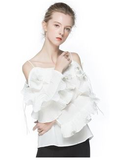 Womens Fancy Casual Ruffles Slash Neck Shirts Full Sleeve Off the Shoulder Strap Blouse