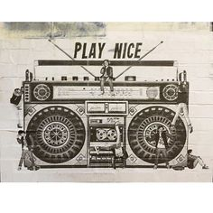 "donklondon: ""#playnice #donk #donklondon #pasteup #wheatpaste #shoreditch #eastlondon  #boombox #ghettoblaster #turndownforwhat #xeroxart #art #streetart #ink #londonstyle #graff #graffiti #streetnoise"""