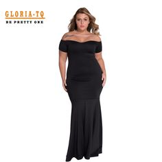 Plus Size Dress Summer XXXL Patchwork Mermaid Floor-Length Black Long Dresses Evening Slash Neck Fashion Formal Women Dress 2016 -- Details can be found by clicking on the image.
