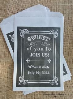 Wedding Favors Candy Favor Bags, Chalkboard Wedding, Country Wedding Favors, by abbey and izzie designs