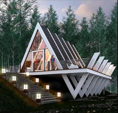 """Luxurious Modern Houses on Instagram: """"I #luxuriousmodernhouses The Best Interior & Exterior Design Digital Magazine  I Curating Contemporary,  Modern & Minimalist High-End…"""" A Frame House Plans, A Frame Cabin, Cottage In The Woods, House In The Woods, Exterior Design, Interior And Exterior, Triangle House, Best Decor, Decor Diy"""