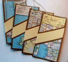 wedding menu / place card combo, one piece double duty, Destination, travel theme, set 10. $40.00, via Etsy.