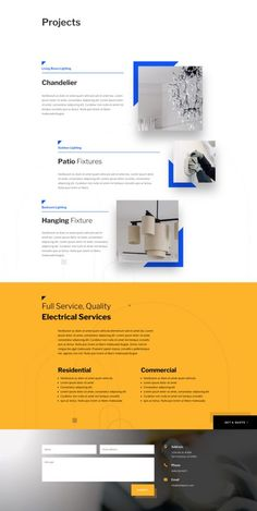 Outshine the competition with a layout pack that has everything you need for your electrical company - Dara Brockelsby Page Layout Design, Website Design Layout, Website Design Services, Web Layout, Company Profile Design, Web Design Company, Design Web, Graphic Design, Website Design Inspiration