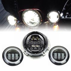 For Touring Electra Glide Road King Harley Daymaker 7inch LED Headlight Projector & 4.5inch Passing Lamps Fog Lights & Adpter