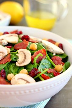This Cranberry Mushroom Spinach Salad with Lemon Basil Vinaigrette ...