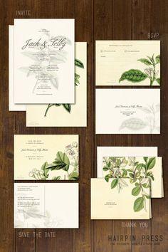 Flora Wedding - Vintage Flower Illustration. Audubon. Plants. Nature. Antique. Invite / Invitation. RSVP. Save the Date. Thank You L0VE