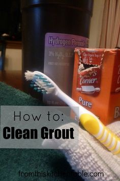 The perfect recipes for how to clean grout! Only 2 ingredients needed and little elbow grease. This method of cleaning grout made a huge difference in our bathroom. #grout #cleaning #naturalcleaning #naturalhome #homemaking #bakingsoda #hydrogenperoxide #