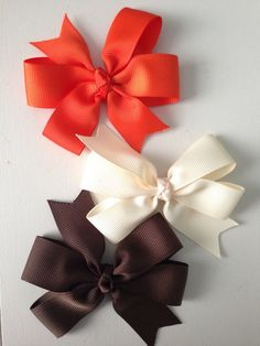 3 inch pinwheel boutique hairbows orange ivory by TangledViolets