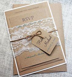 Inviti matrimonio rustico pizzo nozze invito di LoveofCreating