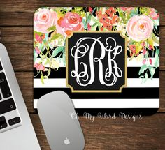 Rugby Stripe Monogrammed Mouse Pad-Monogram by OhMyWordDesigns