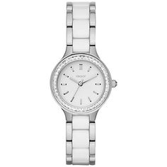 Buy DKNY NY2494 Women's Chambers Ceramic Link Bracelet Strap Watch, Silver/White Online at johnlewis.com