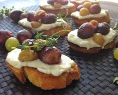 Thyme Roasted Grapes with Vanilla Ricotta Cheese