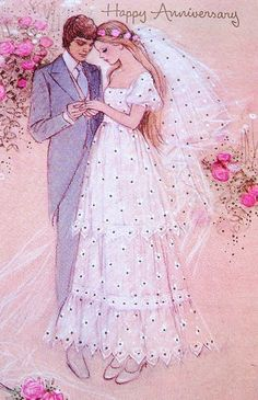 Vintage Wedding Cards, Vintage Greeting Cards, Wedding Art, Vintage Bridal, Wedding Album, Wedding Anniversary Cards, Happy Anniversary, Estilo Retro, Fashion Painting