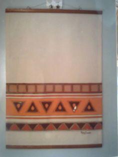 Painel pintado com detalhes em cerâmica- Maira Serrão