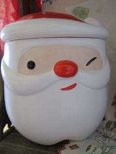 Thrift store find - winking Santa cookie jar.