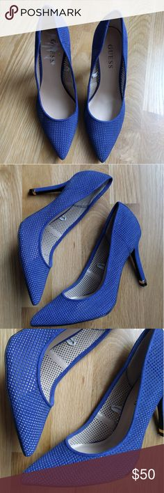 "GUESS pointed blue heels Great condition, like new, I probably worn them 2 times :) Heel: 3-3 1/2"" Navy blue Size 7.5 Fabric exterior Guess Shoes Heels"
