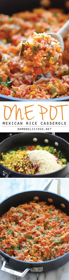 One Pot Mexican Rice Casserole - Good old comfort food made in a single pan - even the rice gets cooked right in the pot!