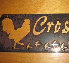 Rooster crossingmetal art by frolicnfriends on Etsy, $20.00