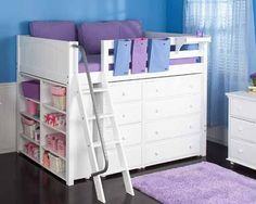 Maxtrix kids. mid loft bed.  I LOVE this idea.  It's basically just building a toddler bed over a dresser & shelf - and it would put little one at a way more convenient height for carrying them to bed & not herniating a disc bending over to put them in bed, or the alternative of waking them up via accidentally dropping them. :( ~Ariel