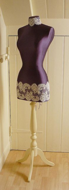 a bespoke silk mannequin with ivory lace panel