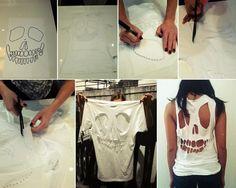 Hacer una camiseta aireada con motivos fantasmagóricos. DIY