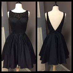 Little Black Dress Jewel Illusion Sleeveless Homecoming Dresses AHC00077