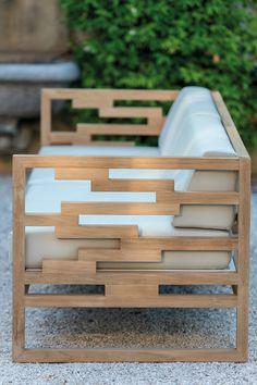 Sled base teak garden armchair KONTIKI | Garden armchair - EMU GROUP