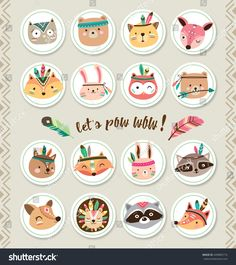 Find Set of cartoon sticker with woodland animals stock vectors and royalty free photos in HD. Explore millions of stock photos, images, illustrations, and vectors in the Shutterstock creative collection. Indian Animals, Tribal Animals, Kids Birthday Party Invitations, Birthday Diy, Cute Pictures To Draw, Party Deco, Employee Appreciation Gifts, Image Digital, Kids Canvas