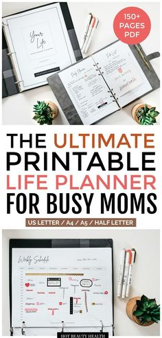 Organize your life and increase productivity with the ultimate life planner printables pack! This bundle set with over 150 pages, has a goal planner, finance planner, meal planner, wellness planner and more! Available in all 4 sizes! Monthly Meal Planner, Mom Planner, Goals Planner, Travel Planner, Printable Planner, Printables, Useful Life Hacks, Increase Productivity, Finance