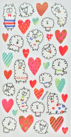 Llamas! Wait, no… poodles? Sheep maybe? Whatever you call them, these fluffy little guys are undoubtedly kawaii and colorful! The watercolor hearts are a sweet addition. Click here to learn more about the Pipsticks sticker kingdom! http://blog.pipsticks.com/kawaii-stickers/