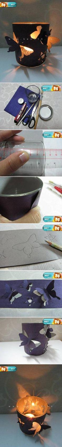 Bekijk de foto van kha met als titel Theelichtglaasjes met vlindertjes en andere inspirerende plaatjes op Welke.nl.