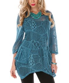 Teal Patchwork Knit Sidetail Tunic | zulily
