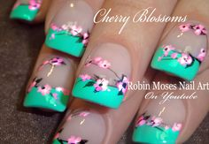 Cherry Blossom Nail Art #nailart #nails #naildesign #design #tutorial #cherryblossom #flowernails #flowers #diynails #easynailart #diynaiart #cherryblossomnails  @polishedperfect @opiproducts #putitinneutral #pickupline