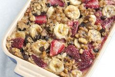 "Baked Oatmeal  2c oats,1/3c brn sugar,1tsp bake powder,1TB grated orange zest,1tsp Chinese 5 spice,1/2c walnuts,1c strawberries,1/3c choc chips,2c milk,1 egg,3TB melt butter,2tsp vanilla ,1bana  375° & spray 10 1/2 x7""dish w/ Pam.  mix oats, sugar, bake powder, orange zest, Chinese 5 spice,1/2 of wnuts, 1/2 of sberries & 1/2 of choc. Save rest for top. Whip milk, egg, butter & vanilla.  Add oat mix to dish. Top w/ remain straw, walnut & choc.  Add banana slices & milk mix on top  Bake 40 min"