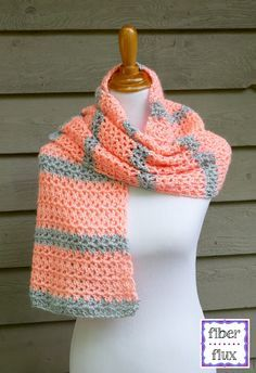 Tangerine Waves Wrap, free crochet pattern from Fiber Flux