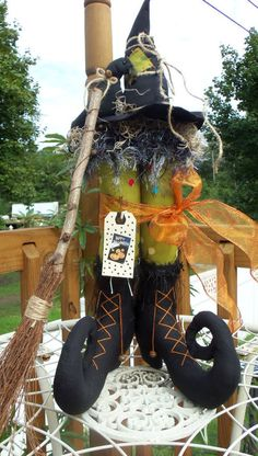 Primitive Witch Boots with dots Crow Broom