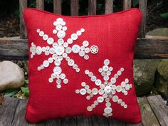 Snowflake Pillow, Snowflake Decoration, Snowflake Holiday Decor, Christmas Decor, Red Pillow, Christmas Pillow, Holiday Pillow/Burlap Pillow