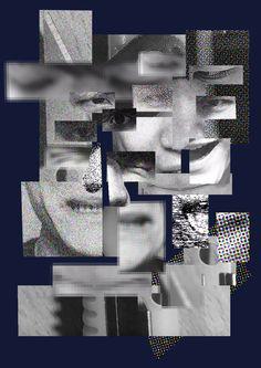 12주차 오브젝트+자화상 포스터-1. 오브젝트인 아크릴 칼과 자화상의 여러 이미지를 크롭하고 필터를 바꿔가며 제작했습니다.