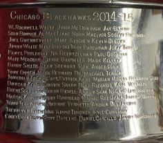 Post with 0 votes and 137 views. 2015 Stanley Cup engraving is complete Ice Hockey Teams, Blackhawks Hockey, Chicago Blackhawks, Blackhawks News, Hockey Players, Hockey Girls, Hockey Mom, Tyler Seguin, Stanley Cup Champions
