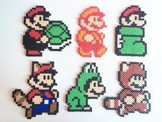 Super Mario Bros 3 Forms: Super Leaf, Tanooki, Frog, Goomba's Shoe, Fire Flower Perler Bead Super Mario Bros 3 Shapes: Super Leaf Tanooki by PixelPrecious Hama Beads Mario, Perler Bead Mario, Diy Perler Beads, Pearler Beads, Fuse Beads, Perler Bead Designs, Perler Bead Templates, Hama Beads Design, Hama Beads Patterns