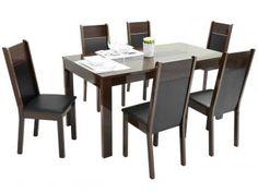 Conjunto de Mesa com 6 Cadeiras Estofaodas Madesa - Damasco