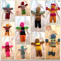 Use up your scrap yarn to crochet a colorful doll for a boy or a girl.